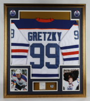 Wayne Gretzky Signed 32x36 Custom Framed Cut Display with Gretzky #99 Jersey Retirement Pin (PSA COA) at PristineAuction.com