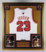 Michael Jordan 32x36 Custom Framed Jersey With (4) NBA Champions Pins at PristineAuction.com