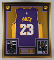 LeBron James 33x37 Custom Framed Jersey With 2020 Finals Champions Pin (See Description) at PristineAuction.com