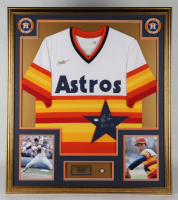 """Nolan Ryan Signed 32x36 Custom Framed Jersey Display Inscribed """"H.O.F. '99"""" with 1999 Hall of Fame Pin (PSA COA) at PristineAuction.com"""