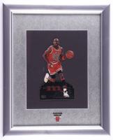 Michael Jordan Bulls 13x16 Custom Framed Upper Deck Stand-Up Card Display with Bulls Lapel Pin (See Description) at PristineAuction.com