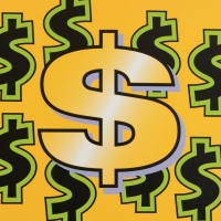 """Steve Kaufman Signed """"Dollar Sign (Yellow)"""" Limited Edition 24x24 Hand Pulled Silkscreen on Canvas #40/50 at PristineAuction.com"""
