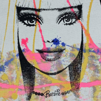 """Gail Rodgers Signed """"Barbie"""" 23x23 Original Hand Pulled Silkscreen Mixed Media on Canvas at PristineAuction.com"""