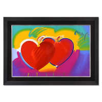 """Peter Max Signed """"Two Hearts As One"""" 43x31 Custom Framed One-Of-A-Kind Acrylic Mixed Media at PristineAuction.com"""
