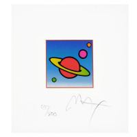 """Peter Max Signed """"Cosmic Saturn II"""" Limited Edition 19x18 Custom Framed Lithograph #497/500 at PristineAuction.com"""