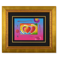 """Peter Max Signed """"Two Hearts on Blends"""" Limited Edition 32x28 Custom Framed Lithograph #447/500 at PristineAuction.com"""