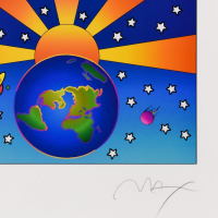 """Peter Max Signed """"Protect Our Home"""" Limited Edition 25x21 Custom Framed Lithograph #450/500 at PristineAuction.com"""