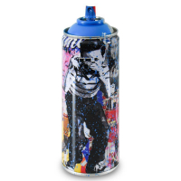 """Mr. Brainwash Signed """"Smile - Full (Cyan)"""" Limited Edition Hand Painted Spray Can #125/200 with Thumbprint at PristineAuction.com"""