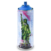 """Mr. Brainwash Signed """"Liberty (Cyan)"""" Limited Edition Hand Painted Spray Can #125/150 with Thumbprint at PristineAuction.com"""