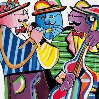 "Rina Maimon Signed ""Three Amigos "" 35x35 Original Acrylic Painting on Canvas at PristineAuction.com"