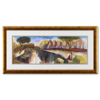 Moshe Leider Signed 34x17 Custom Framed Original Mixed Media Watercolor Painting at PristineAuction.com