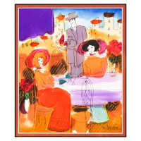 Moshe Leider Signed 15x16 Custom Framed Original Mixed Media Watercolor Painting at PristineAuction.com