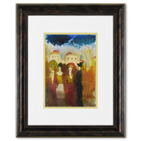 Moshe Leider Signed 17x21 Custom Framed Original Mixed Media Watercolor Painting at PristineAuction.com