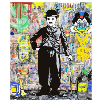 """Jozza Signed """"Chaplin Cash only"""" 48x40 Original Mixed Media on Canvas at PristineAuction.com"""