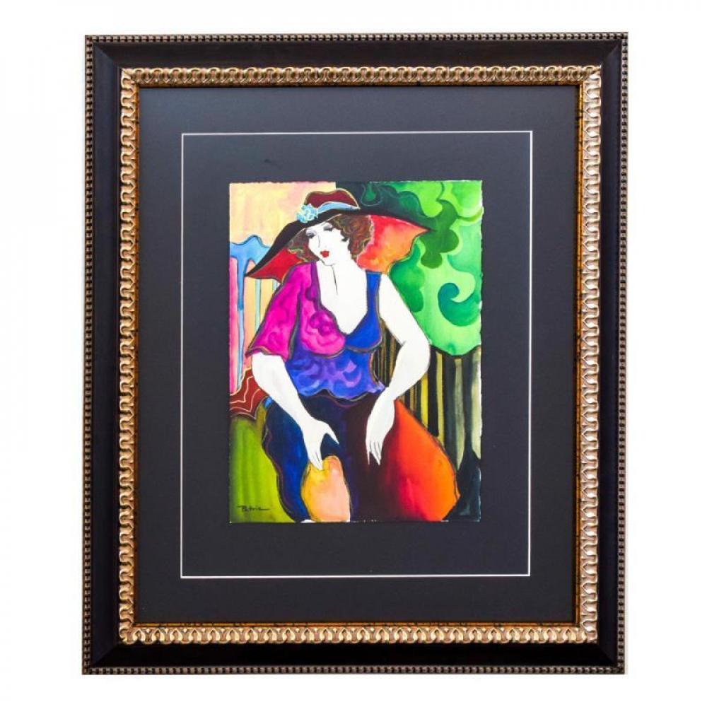 """Patricia Govezensky Signed """"Chloe"""" 28x24 Custom Framed Original Watercolor at PristineAuction.com"""