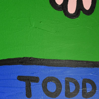 """Todd Goldman Signed """"Fat Friends"""" 72x48 Original Acrylic Painting on Gallery Wrapped Canvas at PristineAuction.com"""
