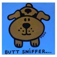 """Todd Goldman Signed """"Butt Sniffer"""" 36x36 Original Painting on Canvas at PristineAuction.com"""
