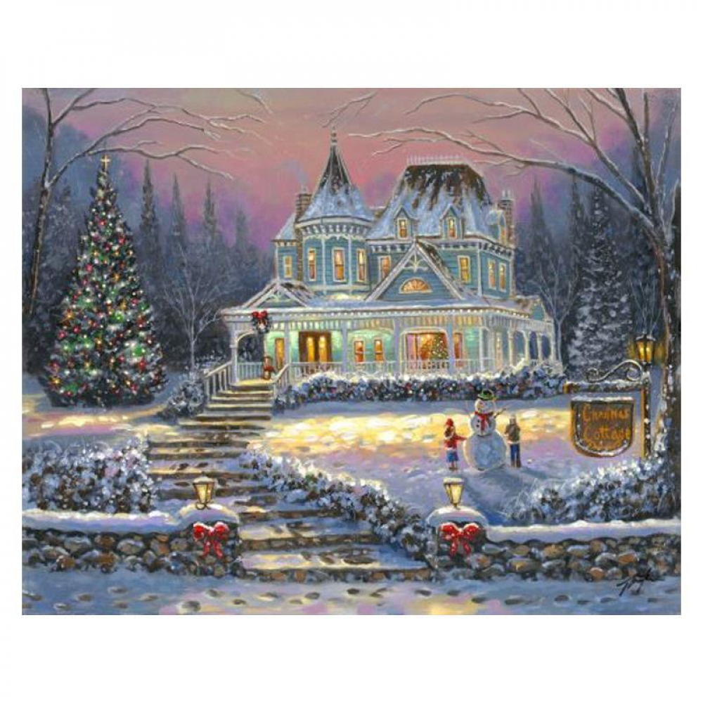 """Robert Finale Signed """"Christmas Cottage"""" Artist Embellished Limited Edition 16x20 Giclee on Canvas at PristineAuction.com"""