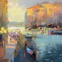 """Ming Feng Signed """"Entering the Grand Canal"""" 16x20 Original Oil Painting on Canvas at PristineAuction.com"""