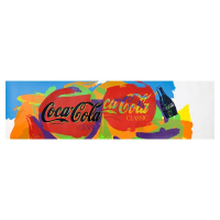 """Steve Kaufman Signed """"Coca-Cola Tops"""" Limited Edition 11x40 Hand Pulled silkscreen Mixed Media on Canvas at PristineAuction.com"""