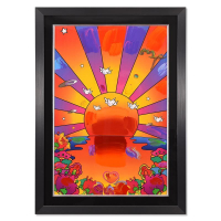 """Peter Max Signed """"Sunrise 2000"""" 31x43 Custom Framed One-Of-A-Kind Acrylic Mixed Media at PristineAuction.com"""