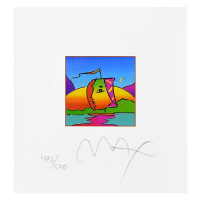 """Peter Max Signed """"Sail Profile"""" Limited Edition 21x20 Custom Framed Lithograph #493/500 at PristineAuction.com"""