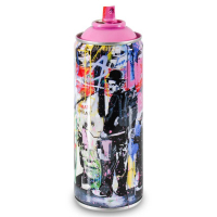 """Mr. Brainwash Signed """"Just Kidding (Pink)"""" Limited Edition Hand Painted Spray Can #124/150 with Thumbprint. at PristineAuction.com"""
