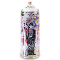 """Mr. Brainwash Signed """"Gold Rush (White)"""" Limited Edition Hand Painted Spray Can #125/150 with Thumbprint at PristineAuction.com"""