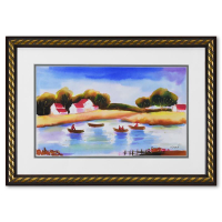Moshe Leider Signed 24x17 Custom Framed Original Mixed Media Watercolor Painting at PristineAuction.com