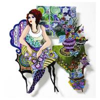 "Patricia Govezensky Signed ""Violet"" 19x17 Original Painting on Cutout Steel at PristineAuction.com"