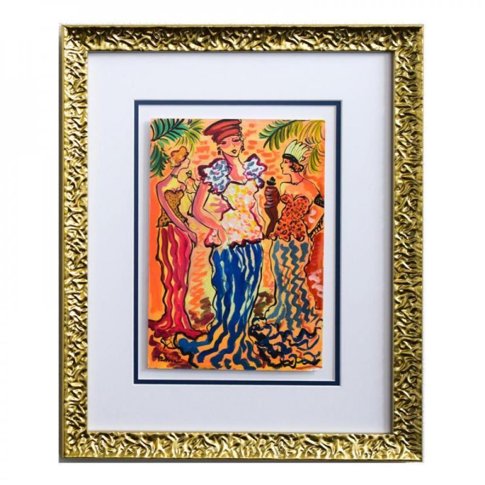 """Patricia Govezensky Signed """"Princess"""" 19x15 Custom Framed Original Watercolor at PristineAuction.com"""