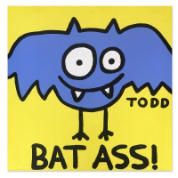 """Todd Goldman Signed """"Bat Ass"""" 36x36 Original Painting on Canvas at PristineAuction.com"""