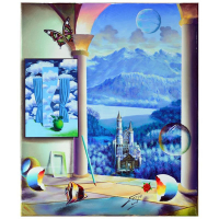 """Ferjo Signed """"Castle Before the Mountains"""" 24x20 Original Painting on Canvas at PristineAuction.com"""
