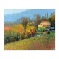 """Ming Feng Signed """"Wooded Estate"""" 20x16 Original Oil Painting on Canvas at PristineAuction.com"""