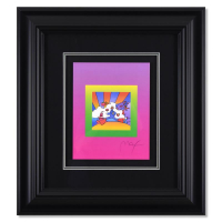 """Peter Max Signed """"Cosmic Runner on Blends"""" Limited Edition 27x25 Custom Framed Lithograph #496/500 at PristineAuction.com"""