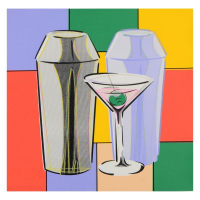 """Steve Kaufman Signed """"Martini"""" Hand Embellished Limited Edition 24x24 Hand Pulled Silkscreen on Canvas #29/50 at PristineAuction.com"""