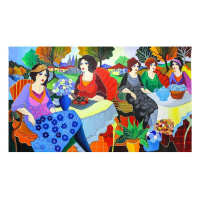 "Patricia Govezensky Signed ""Sisters"" 30x52 Original Acrylic on Canvas at PristineAuction.com"