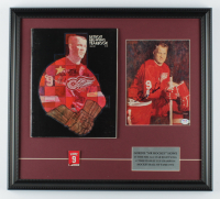 Gordie Howe Signed Red Wings 18x20 Custom Framed Photo Display With 1968-1969 Red Wings Year Book & #9 Retired Jersey Pin (PSA COA) at PristineAuction.com