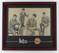 """The Beatles"" 18x20 Custom Framed Original 1964 Beatles Photo Display with Original 1964 Vari-Vue Blinker Pin at PristineAuction.com"