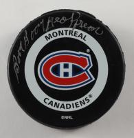 "Bernie ""Boom Boom"" Geoffrion Signed Canadiens Logo Hockey Puck (JSA Hologram) at PristineAuction.com"