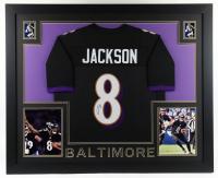 Lamar Jackson Signed 35x43 Custom Framed Jersey Display (JSA Hologram) at PristineAuction.com