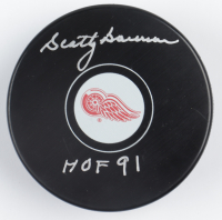 """Scotty Bowman Signed Red Wings Logo Hockey Puck Inscribed """"HOF 91"""" (COJO COA & Frozen Pond Hologram) at PristineAuction.com"""