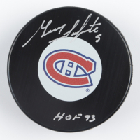 """Guy Lapointe Signed Canadiens Logo Hockey Puck Inscribed """"HOF 93"""" (COJO COA) at PristineAuction.com"""