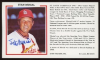 Stan Musial Signed Cardinals 3x6 Photo Card (MAB Hologram) at PristineAuction.com