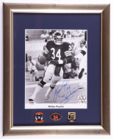 """Walter Payton Signed Bears 13x16 Custom Framed Photo Display Inscribed """"Sweetness"""" with (3) Payton Pins (PSA LOA) (See Description) at PristineAuction.com"""