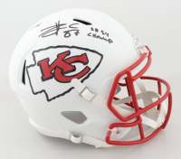 """Travis Kelce Signed Chiefs Full-Size Matte White Speed Helmet Inscribed """"SB 54 Champ"""" (Beckett COA) at PristineAuction.com"""
