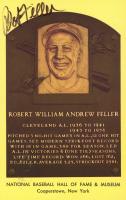 Bob Feller Signed Hall of Fame Plaque Postcard (JSA COA) at PristineAuction.com