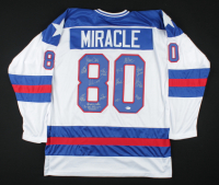 """""""Miracle On Ice"""" Jersey Team-Signed by (15) with Mike Eruzione, Jim Craig, Craig Patrick, Dave Silk Inscribed """"Do You Believe in Miracles?"""" (Beckett COA) at PristineAuction.com"""