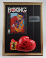 Mike Tyson Signed 17x22 Custom Framed Boxing Glove Display with Full Vintage Boxing Beat LeRoy Neiman Art Cover Magazine (PSA COA) at PristineAuction.com