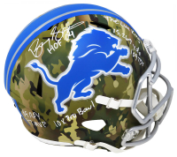 Barry Sanders Signed Lions Full-Size Camo Alternate Speed Helmet with (7) Career Stat Inscriptions (Schwartz COA) at PristineAuction.com